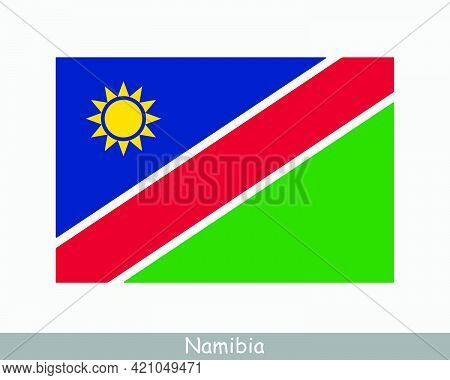 National Flag Of Namibia. Namibian Country Flag. Republic Of Namibia Detailed Banner. Eps Vector Ill