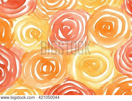Watercolor Paint Roses Abstract Background. Orange, Yellow And Brown Rose Spot Texture. Backdrop Of