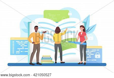 Male And Female Characters Standing At Open Book With Coding Text. Group Of Programmers Are Coding N