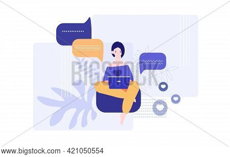 Cute Female Character Is Sitting With Laptop And Texting In Application. Concept Of Internet Communi