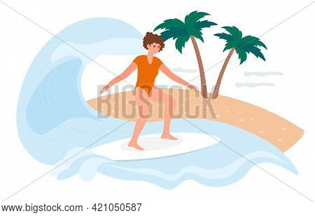 Happy Female Surfer Is Surfing On Board On A Summer Vacation. Young Woman Is Surfing Huge Waves Alon