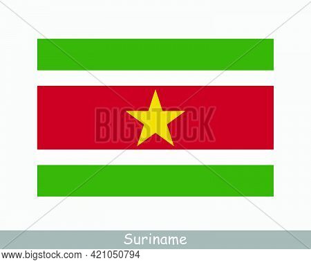 National Flag Of Suriname. Surinamese Country Flag. Republic Of Suriname Detailed Banner. Eps Vector