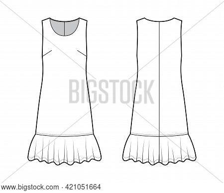 Dress Dropped Waist Technical Fashion Illustration With Sleeveless, Oversized Body, Knee Length Skir