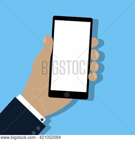 Mobile Phone In Hand. Mobile Phone. Cell Phone. Hand Touch Screen Smartphone Icon. Stock Image. Vect