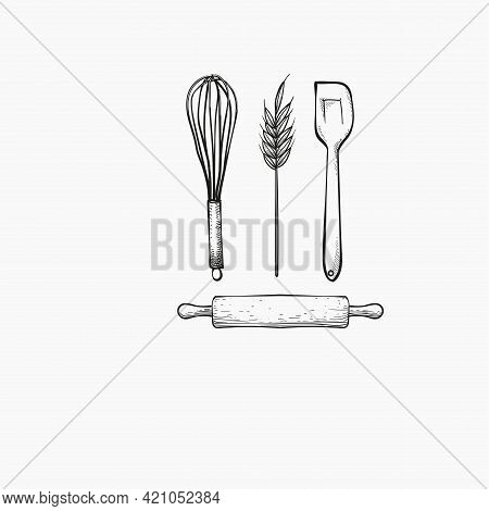 Baker Utensils And Wheat Hand Drawn Vector Design Template