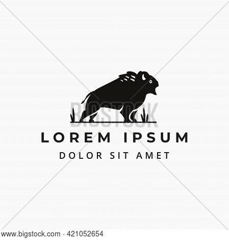 Great Wild Bison Simple Flat Logo Design Concept