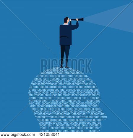 Digital Vision Looking Future Futuristic Leader Information Technology Binary Code Business Telescop