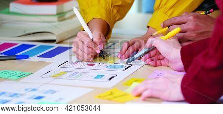 Brainstorm Planing Creative Teamwork,  Close Up Of Hands Mobile Phone App Developer Team Meeting Abo
