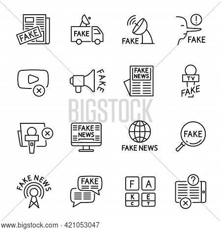 Collection Monochrome Fake News Icon Vector Illustration. Corruption False At Tv, Radio, Newspapers