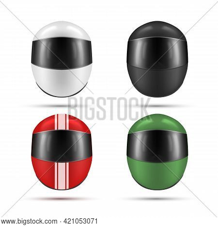 Collection Of Colorful Motorcycle Helmets With Glass Plastic Protective Visor Vector Illustration