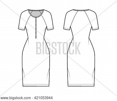 Dress Henley Collar Technical Fashion Illustration With Short Raglan Sleeves, Fitted Body, Knee Leng