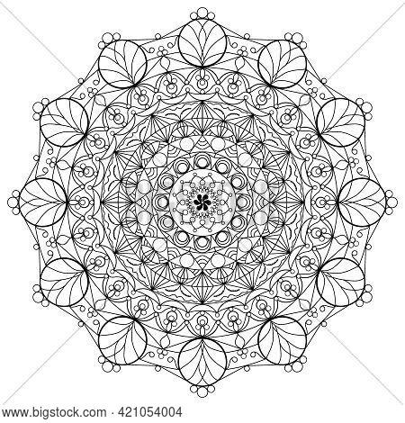 Abstract Mandala For Coloring Page. Ornate Circular Mandala Design. Black And White Line Art.