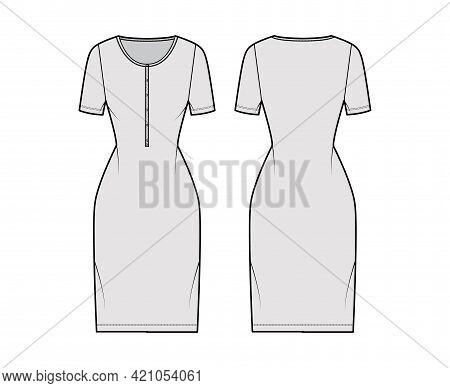 Dress Henley Collar Technical Fashion Illustration With Short Sleeves, Fitted Body, Knee Length Penc