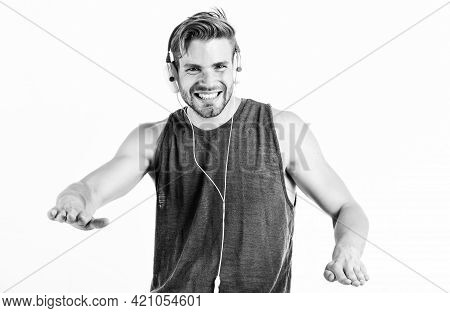 Cant Stop The Music. Sexy Muscular Man Listen Audio. Man In Earphones Isolated On White. E Book. Uns