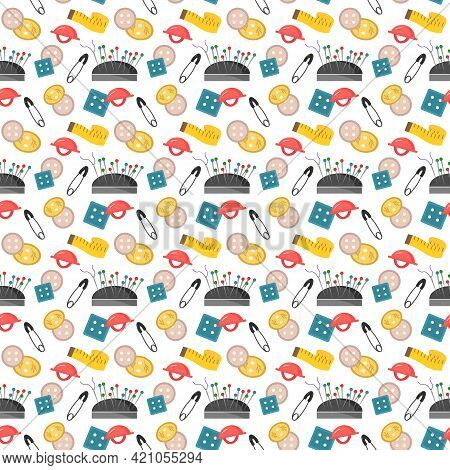 Pattern With Items For Sewing - Buttons, Pins, Centimeter And Pin Cushion.r. Vector Illustration Iso