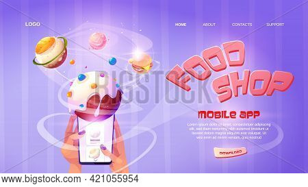 Food Shop Cartoon Landing Page, Online Application For Ordering Meals, Hands Hold Smartphone With Pl