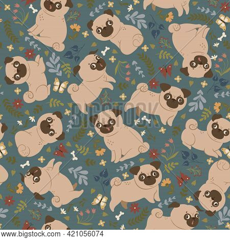 Seamless Pattern With Cute Pugs And Flowers. Vector Image