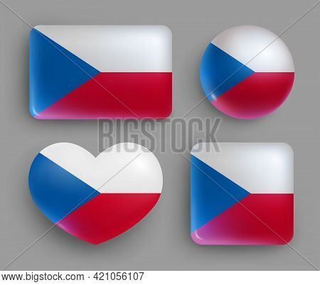 Glossy Buttons With Czech Country Flags Set. European Country National Flag Shiny Badges Of Differen