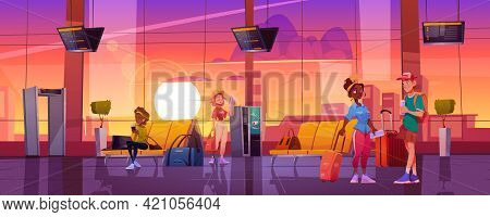 Travelers In Airport Waiting Room, Tourists People With Luggage Wait Plane Boarding In Terminal With
