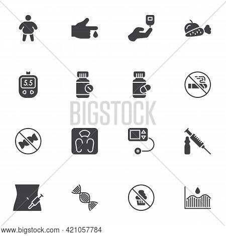 Diabetes Related Vector Icons Set, Modern Solid Symbol Collection, Filled Style Pictogram Pack. Sign