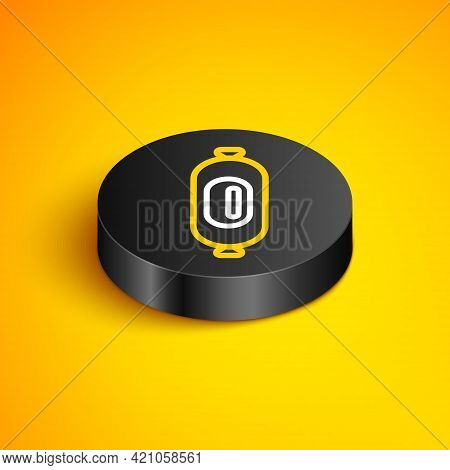 Isometric Line Salami Sausage Icon Isolated On Yellow Background. Meat Delicatessen Product. Black C