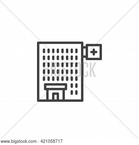 Hospital Building Line Icon. Linear Style Sign For Mobile Concept And Web Design. Medical Hospital O