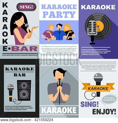 Karaoke Bar Mini Poster Set With Singing People Isolated Vector Illustration