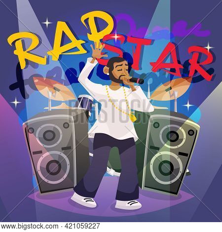 Rap Music Poster With Cartoon Hip-hop Singer Character Vector Illustration