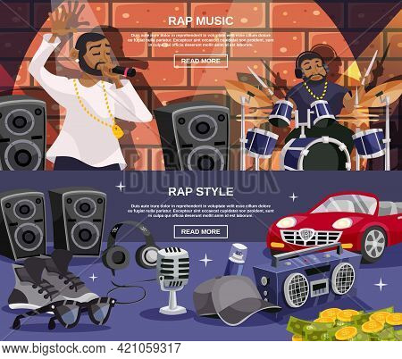 Rap Music And Hip-hop Style Horizontal Banner Set Isolated Vector Illustration