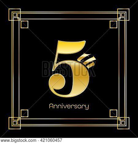 Number Five Logo Design With Square Ornament, Luxury Golden Design, Anniversary Concept, Vector Illu
