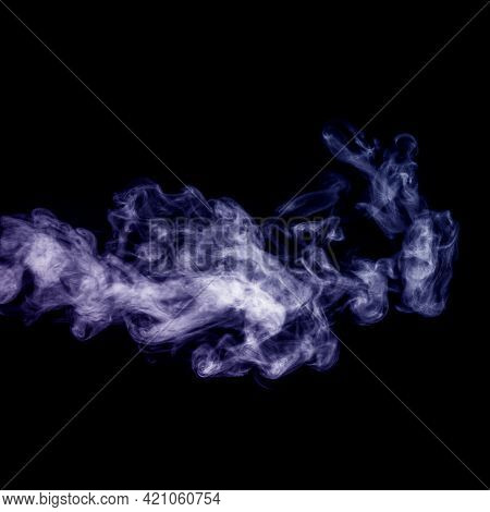 Perfect Mystical Curly Purple Vapor Or Smoke Isolated On Black Background, Square Frame. Abstract Ba