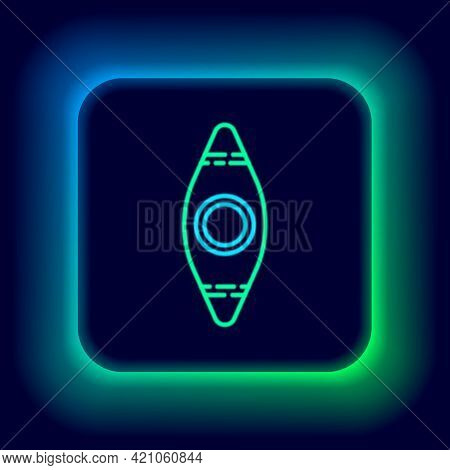Glowing Neon Line Kayak And Paddle Icon Isolated On Black Background. Kayak And Canoe For Fishing An