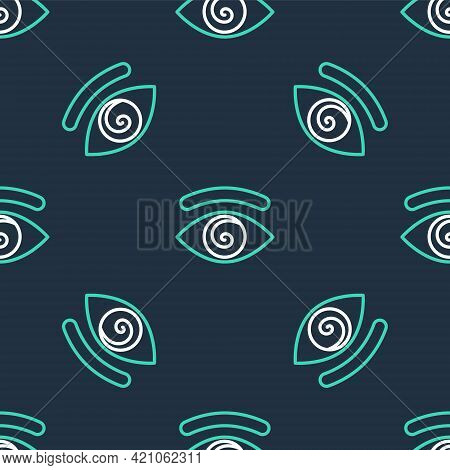 Line Hypnosis Icon Isolated Seamless Pattern On Black Background. Human Eye With Spiral Hypnotic Iri