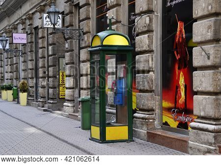 Budapest - Hungary - July 13, 2012: Traditional Public Telephone Booth In Budapest, Hungary.