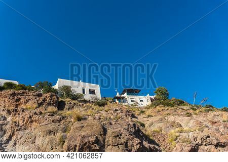 White Houses On The Top Of San Jose Beach In The Town Of Nijar, Almería. Andalusian Coast In Cabo De