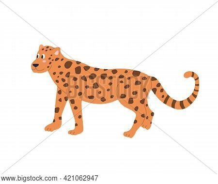 Cute Funny Jaguar On A White Background. Vector Image In Cartoon Flat Style. Decor For Childrens Pos