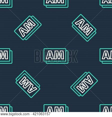 Line Clock Am Icon Isolated Seamless Pattern On Black Background. Time Symbol. Vector