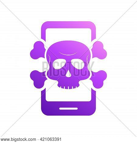 Virus Alert Icon. Smartphone With Virus. Cyber Attack Alert Icon With Skull. Phishing Scam Concept.