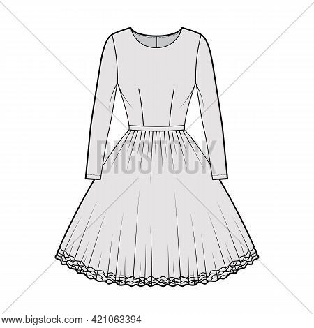 Dress Tutu Technical Fashion Illustration With Long Sleeves, Fitted Body, Knee Length Circular Skirt