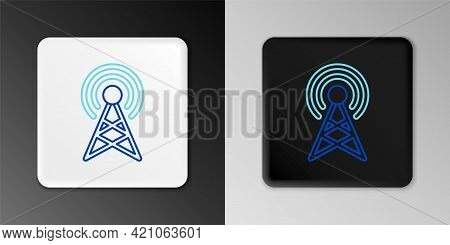 Line Antenna Icon Isolated On Grey Background. Radio Antenna Wireless. Technology And Network Signal