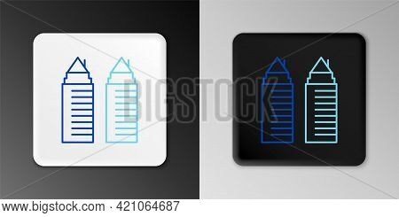 Line Two Tall Residential Towers In The Dnipro City Icon Isolated On Grey Background. Colorful Outli