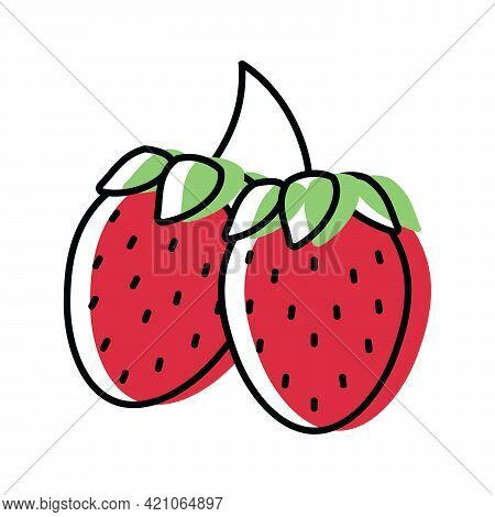 Strawberry. Natural Berries. Vector Illustration In Flat Style