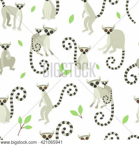 Seamless Pattern With Lemurs On A White Background. Exotic Cute Animals Of Madagascar And Africa. Ve