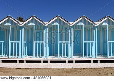 Bagno Annetta, Italy, Forte Dei Marmi, 01 April 2017, Beach Huts Blue Color On Forte Dei Marmi Beach