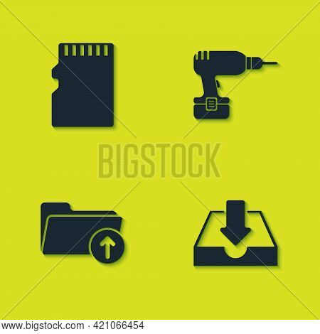 Set Micro Sd Memory Card, Download Inbox, Arrow With Folder And Drill Machine Icon. Vector
