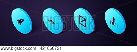 Set Isometric Loading, Open New Window, Ufo Flying Spaceship And Rocket With Fire Icon. Vector