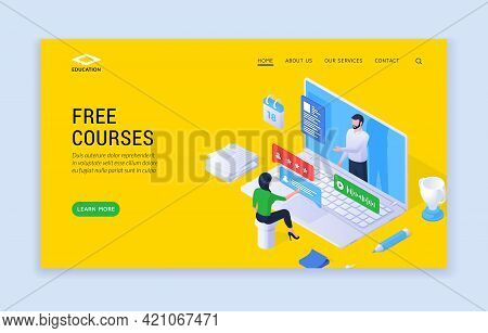 Free Courses Website Banner Template. Vector Illustration Of Modern Website Design With Isometric Pe