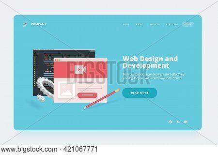 Web Design Template. Vector Illustration Concept Of Website Or Landing Page Design For Web Design An
