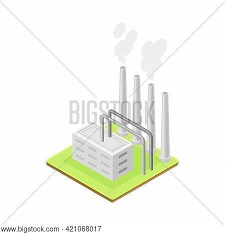 Geothermal Power Station As Renewable Green Energy Source Isometric Vector Illustration