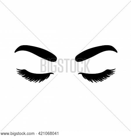 Vector Eye Illustration With Long False Eyelashes And Wide Eyebrows. The Woman S Eyes Closed. For Be